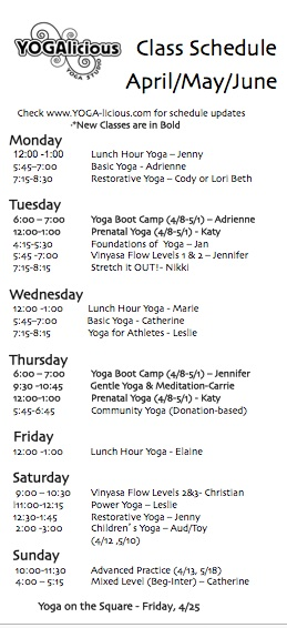 APRIL-MAY-JUNE CLASSES