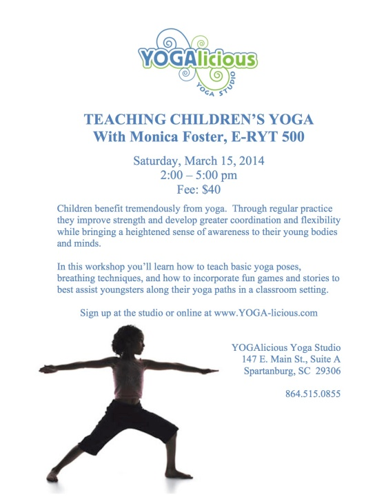 TEACHING Children's Yoga Workshop 2014 flyer (1)